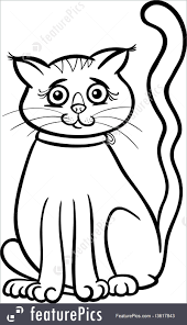 Pets Black And White Cartoon Illustration Of Cute Female Cat Or Kitten For Coloring Book