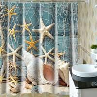 seestern motiv badezimmerteppich badematten set duschvorhang 180x180cm mit 12 duschvorhangringen