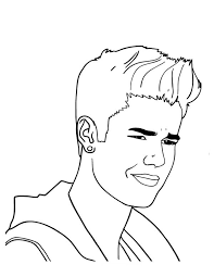 Justin Bieber With Cool Earing Coloring Page