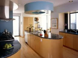 Lovely Blue Kitchen Interior Decorating Rangehood Matched With Natural Green Plant On Oval Island Glowing Black Marble