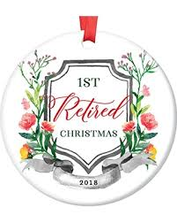 2018 Christmas Tree Ornament 1st First Holiday Season Job Retirement Retired From Work Ceramic Collectible Keepsake