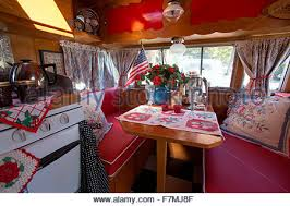 Interior View Of Breakfast Table In A Vintage Trailer At The 4th Annual Bash