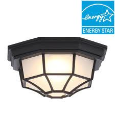 Home Depot Ceiling Lamps by Hampton Bay Black Outdoor Led Flushmount Hb7072led 05 The Home Depot