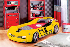 Kids Bedroom With Red Car Bed And Laminate Bedroom Car Bed For