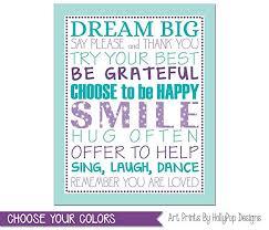 Tween Girl Bedroom Art Purple Aqua Decor Typography Print Positive Quotes