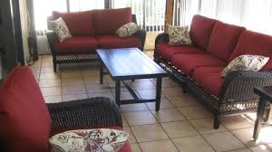 Hampton Bay Woodbury Wicker Outdoor Patio Sofa with Chili Cushion