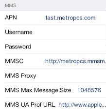 MetroPCS Apple iPhone 6 Internet and MMS APN Settings for United