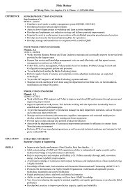 Manufacturing Engineer Resume Sample Samples With For Production