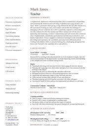 Teaching CV Template Job Description Teachers At School Example Resume