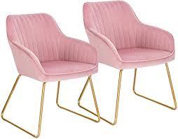 woltu esszimmerstühle bh246rs 2 2er set küchenstuhl polsterstuhl wohnzimmerstuhl sessel mit armlehne sitzfläche aus samt gold beine aus metall rosa