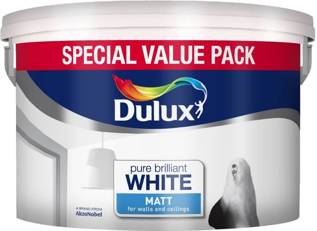 Dulux Pure Brilliant Paint - White Matt, 7l