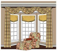Bay Window Treatments Minus The Dated Patterns And Swag For Living Room