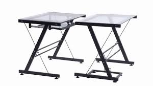 Walker Edison 3 Piece Contemporary Desk by Merax L Shaped Corner Desk Sliver And Clear Glass Youtube