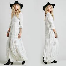 boho dress bohemian long maxi dress embroidery black white dress