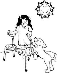 The Girl Disabilities And Dog Coloring Page