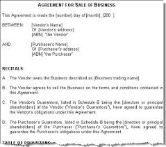 Contract Of Sale Business Template Free Image Collections