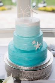 Cake Art Ombre Teal Wedding With Wavy Butter Cream And Starfish