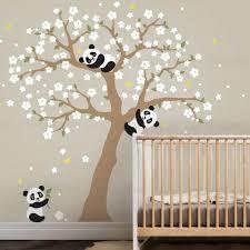 stickers panda chambre bébé panda et fleur de cerisier arbre muraux sticker mural panda