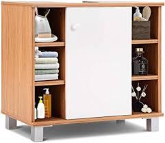 costway waschbeckenunterschrank unterschrank badezimmer badunterschrank holz waschbeckenschrank 60x54x32 5cm waschtischunterschrank mit regale