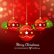 Red Xmas Balls On Bokeh Light Background Vector Download