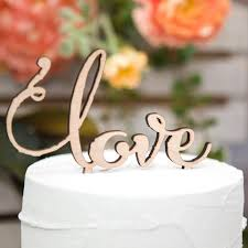 Wedding Cake Topper Rustic Wooden Love