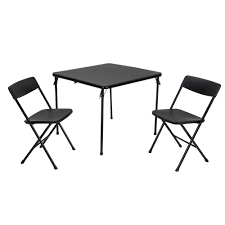 Cosco 3-Piece Black Fold-in-Half Folding Table Set Alexia 5 Pcs Contemporary Set 4 Black Chairs And White Modern Table Inspire 5piece Greywhite Kids Table And Chair Set Garden Trading Rive Droite Bistro Chairs Shutter Blue Costway Piece Ding Wood Metal Kitchen Breakfast Fniture Black Rakutencom Black Table Chairs Dorel Living Devyn 3piece Faux Marble Pub Ikea In Camberwell Ldon Gumtree Brooklyn Oak Leather Bro103 Warmiehomy Glass 6 With 2375 Square Inoutdoor 2 Meco Sudden Comfort Deluxe Double Padded Back Card Courtyard Cosco Foldinhalf Folding