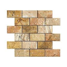 Scabos Travertine Floor Tile by Scabos Travertine 2 X 4 Brick Mosaic Tile Honed And Deep Beveled