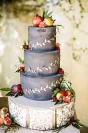 Brides Gray Rustic Fall Wedding Cake Topped With Fruit A Three Tiered Adorned And Gilded Ivy By Frost It Cakery