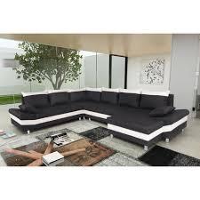canape d angle noir et blanc pegase canapé d angle panoramique convertible 6 places tissu noir
