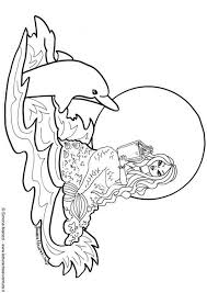 Coloring Page Mermaid With Dolphin