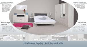 schlafzimmer komplett set a sidonia 8 teilig farbe eiche weiß anthrazit
