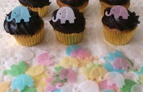 40 Edible Rice Paper Mini Elephant Baby Shower Cupcake For Toppers