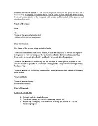 Letter Invitation For Uk Visa Template Resume Builder