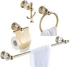 womao badezimmer set zubehör gold 4er set wandmontage bohren handtuchhalter duschwand deko mit kristall handtuchhaken klopapierhalter