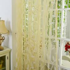 Sheer Voile Curtains Uk by Leaf Pattern Voile Window Curtain Sheer Voile Room Panel Drapes