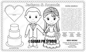 Endorsed Mat Coloring Page Printable Personalized Wedding Favor