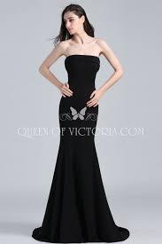 cheap simple satin strapless black emily ratajkowski evening prom
