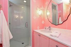 pink wall mirror with pink walls bathroom traditional and