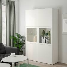 ikea bestå storage combination w glass doors white