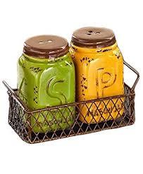 Yellow Green Salt N Pepper Shaker Set Chicken Wire Basket Holder Primitive Mason Jar Tuscan French