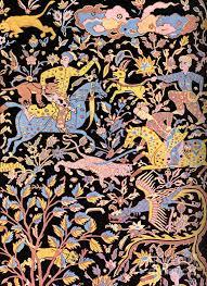 Painting Carpets by Hunting Persian Men On Horse Persian Art Persian Motifs For Carpet
