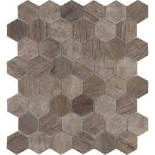 Home Depot Merola Penny Tile by Ms International Driftwood Hexagon 12 In X 12 In X 6 Mm Glass