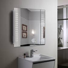 modern mirror cabinet 60 led light illuminated bathroom on with