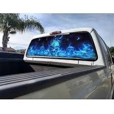 Rear Window Flaming Skull Cool Sticker Fashion Blue Stickers For ...