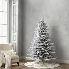 75 Flocked Christmas Tree by Flocked Stafford Pine Quick Light Full Profile Tree Frontgate