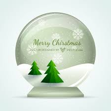 Snow Globe With Xmas Trees Snowy Landscape Vector Download