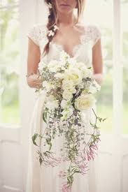 So Pretty Draping Wedding Bouquet With Soft Color Palette Lace Dress And Beautiful Flowers In Her Hair