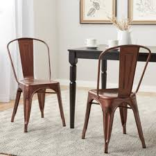Tabouret Brushed Copper Bistro Dining Chairs Set Of 2
