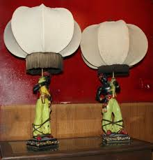 J Hunt And Company Floor Lamps by Vintage Plaster Chalkware Mid Century Genie Blackamoor Nubian