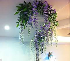 Ft Realistic Romantic Classic Artificial Fake Wisteria Vine Ratta Silk Flowers For Garden Floral Decoration DIY Living Room Hanging Flower Plant Home
